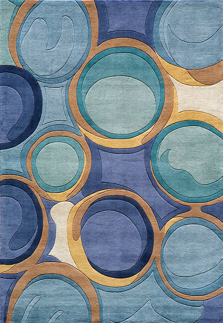Momeni New Wave Nw 133 Blue Modern Area Rug