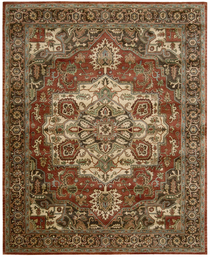 9x12 New Nourison Nourmak Hand Knotted Wool Reversible: Nourison Jaipur JA36 Red Traditional Area Rug