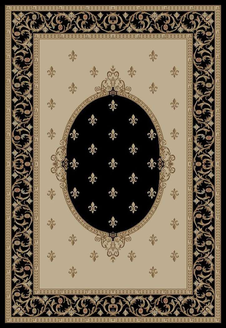 Jewel European 6313 Fleur deLys Medallion Black Area Rug by Concord Global Trading