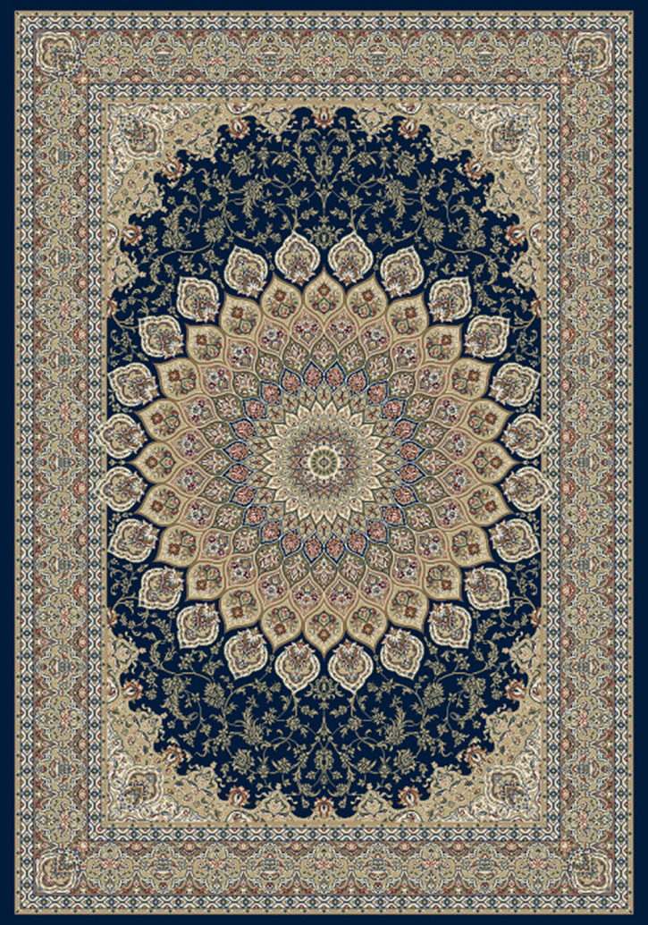 Ancient Garden 57090 3484 Navy Area Rug By Dynamic Rugs