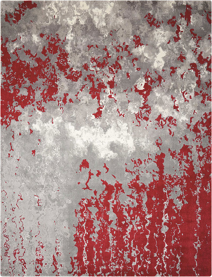 Nourison Twilight TWI21 Grey Red Area Rug
