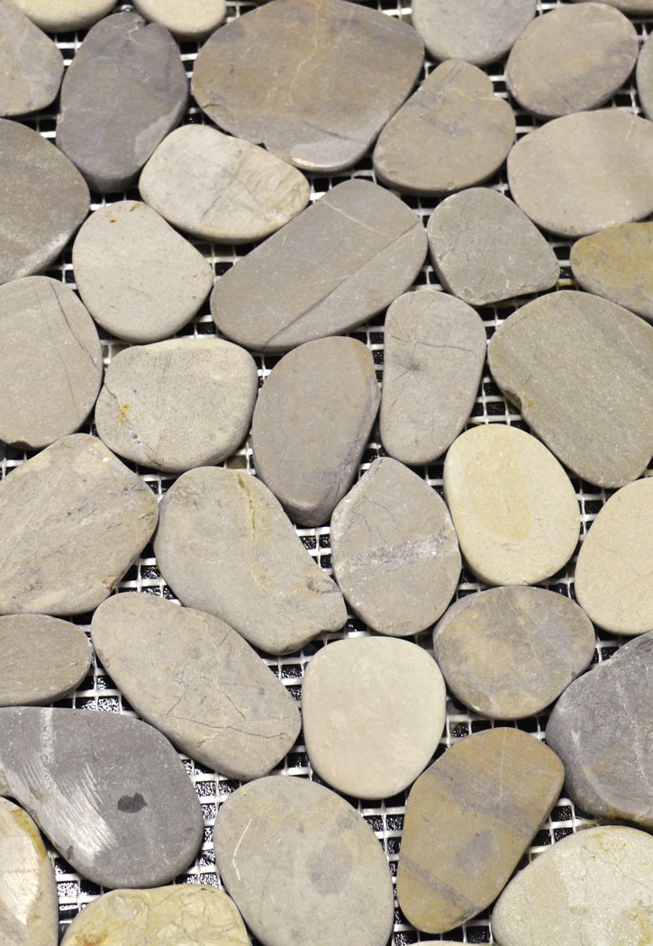 Vitality Mica Grey Natural Flat Stone Pebble Mosaic Floor