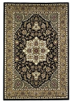 Cambridge Classic 7327 Black/Beige Kashan Medallion Area Rug by KAS