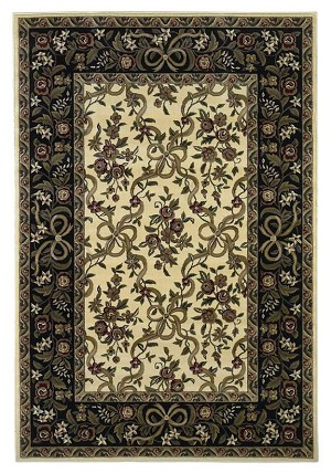 Cambridge Floral 7310 Ivory/Black Floral Ribbons Area Rug by KAS