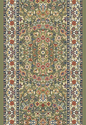 "Ancient Garden 57078-4444 Green/Ivory 2'7"" Wide Hall and Stair Runner"