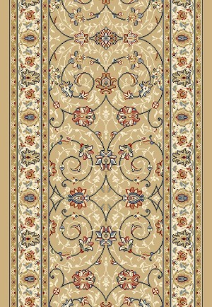"Ancient Garden 57120-2464 Light Gold/Ivory 2'2"" Wide Hall and Stair Runner"