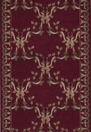 "Ashton House A01R Ribbon Trellis Burgundy 2'3"" Wide Hall and Stair Runner"