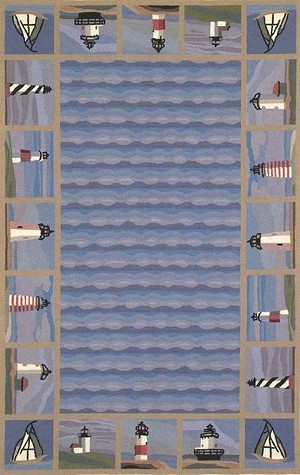 Colonial 1802 Blue Lighthouse Waves Area Rug by KAS
