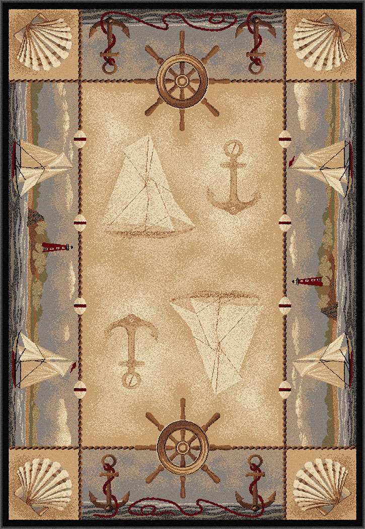 Americana 6582 Beige Area Rug Themed And Fun Rugs