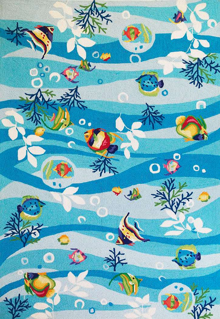 Kas Rugs Sonesta Nautical 2011 Blue Tropical Fish Area Rug