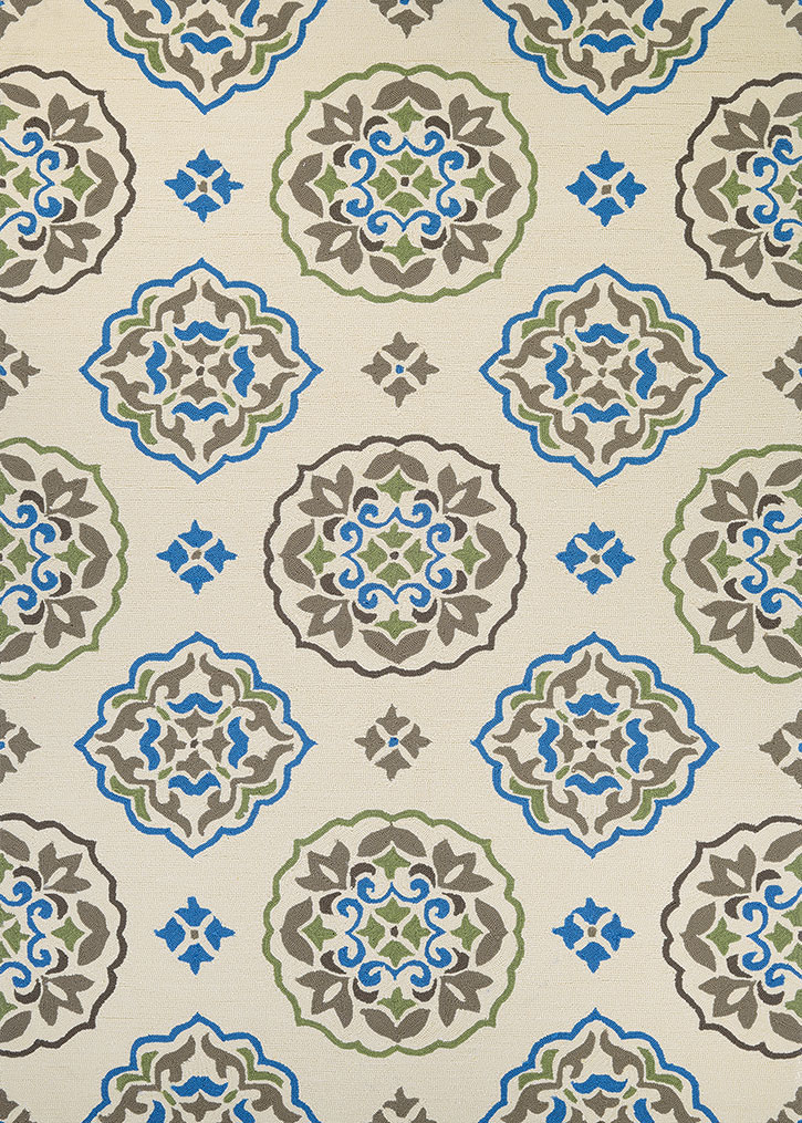Covington 3002 0820 San Clemente Cream Blue Area Rug By Couristan
