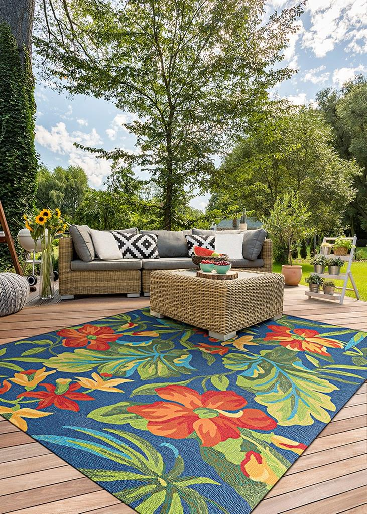 Covington 4886 4285 Tropical Orchid Azure Forest Green Red Area Rug By Couristan Carpetmart