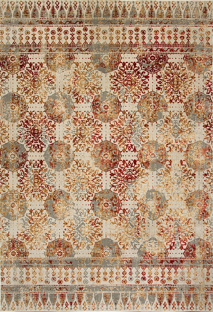 Dynamic Rug Quartz 26110 130 Ivory Red Area Rug