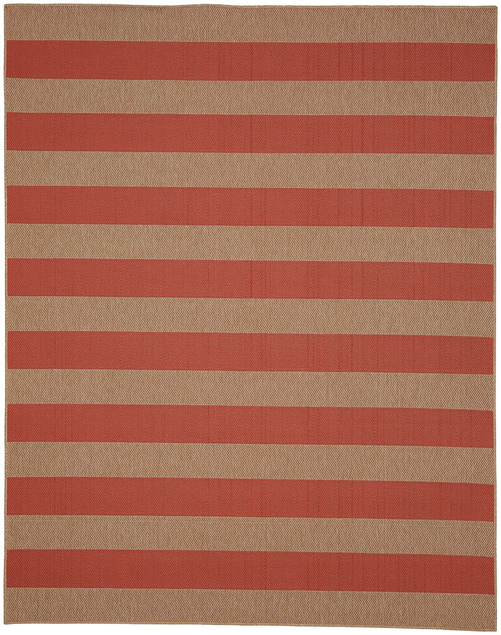 Portico 91020-1097 Riviera Stripe Coral Indoor-Outdoor Area Rug - Karastan