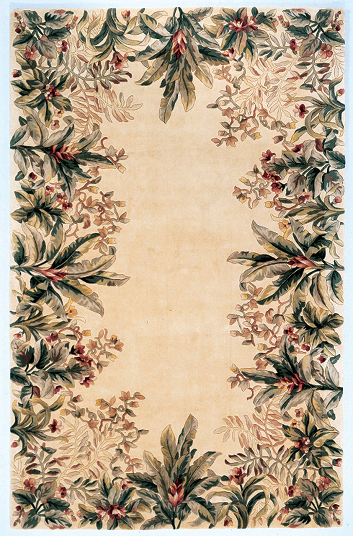 Kas Emerald 9022 Ivory Tropical Border Area Rug