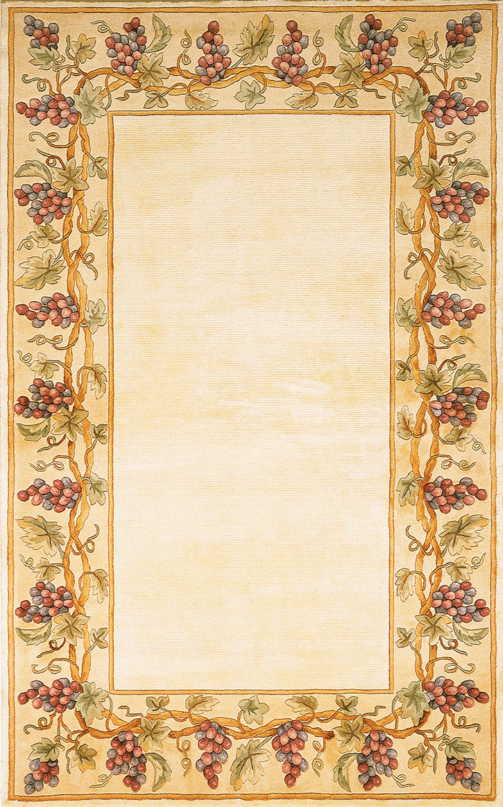 Kas Emerald 9058 Ivory Grapes Border Area Rug Carpetmart Com