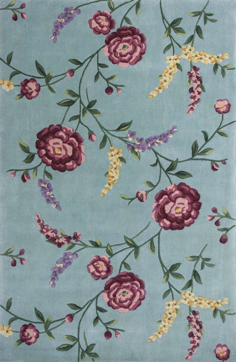 Ruby 8919 Blue Floral Vines Area Rug By Kas Oriental Rugs