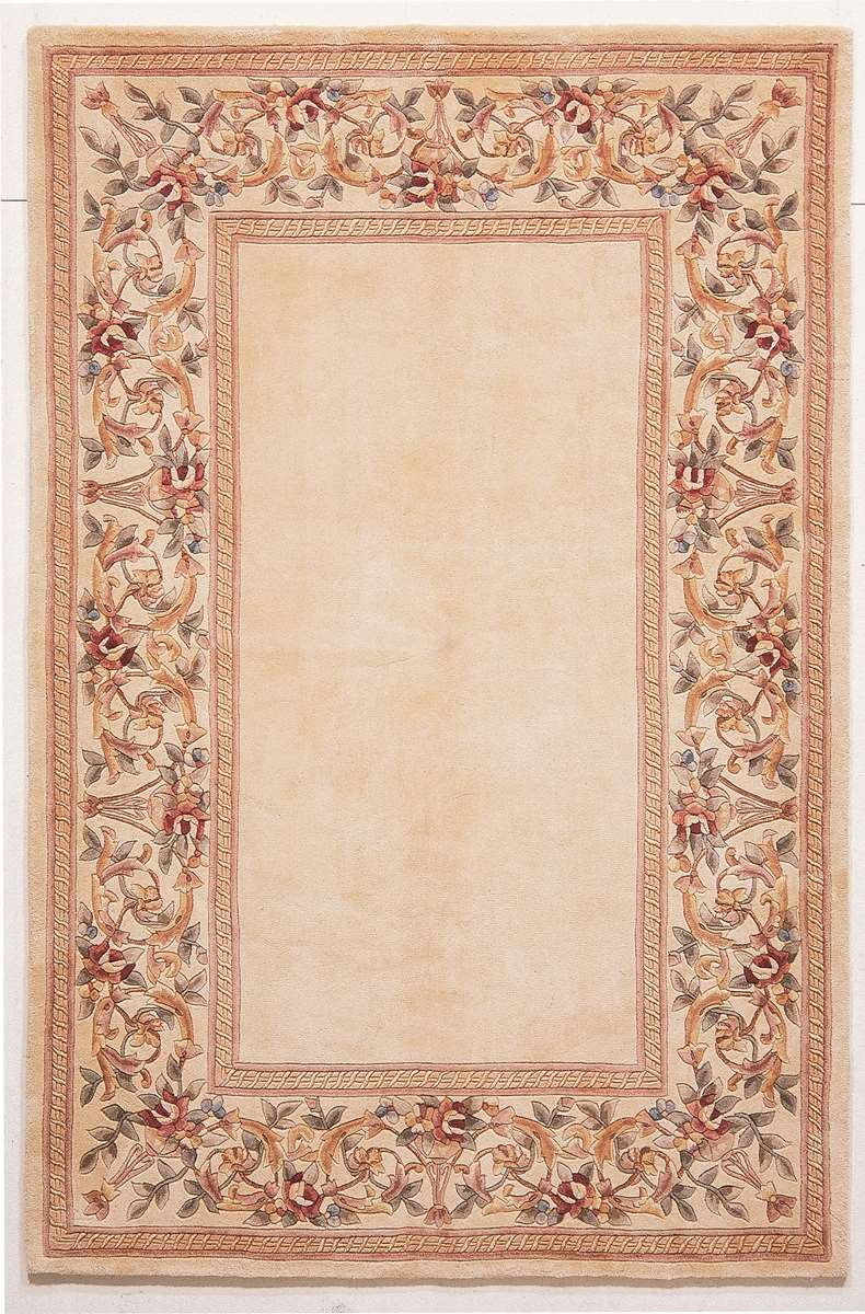 Ruby 8928 Ivory Ivory Floral Border Area Rug By Kas