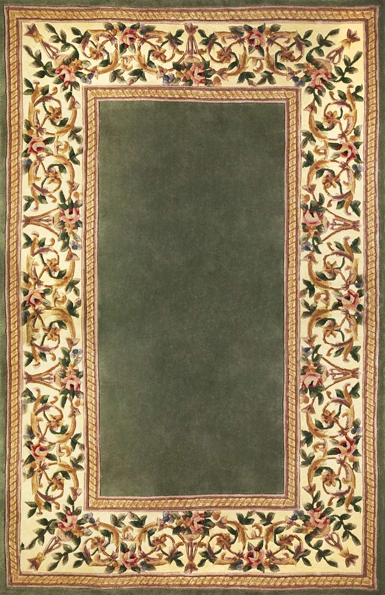Ruby 8942 Sage Floral Border Area Rug By Kas Oriental Rugs