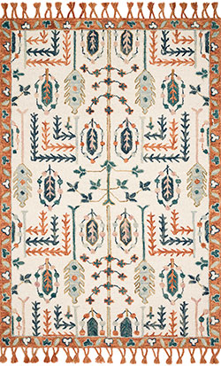 Kasuri KB-02 Ivory/Persimmon Area Rug - Magnolia Home by Joanna Gaines