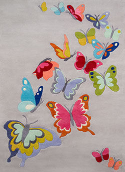 Momeni Lil Mo Whimsy LMJ-32 Butterfly Flutter Grey Area Rug