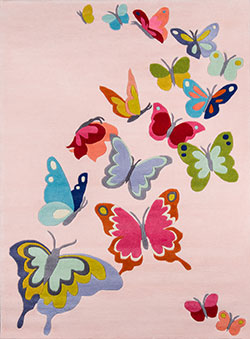 Momeni Lil Mo Whimsy LMJ-32 Butterfly Flutter Pink Area Rug