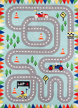 Momeni Lil Mo Whimsy LMJ-34 Racetrack Light Blue Area Rug