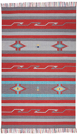 Nourison Baja BAJ01 Grey/Red Area Rug