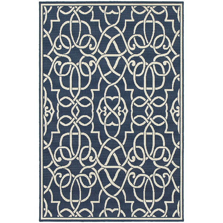 Oriental Weavers Meridian 2205B Navy/ Ivory Indoor Outdoor Area Rug