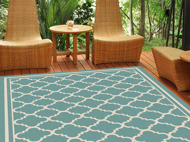 Garden City By Tayse Indoor Outdoor Area Rug Tangier Gct1009 Aqua