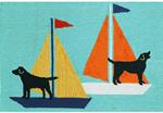 Liora Manne Frontporch 1402/03 Sailing Dog Blue Area Rug