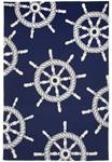 Liora Manne Frontporch 1456/33 Ship Wheel Navy Area Rug