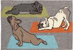 Liora Manne Frontporch 1488/47 Yoga Dogs Heather Area Rug