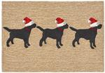 Liora Manne Frontporch 1857/12 3 Dogs Christmas Neutral Area Rug
