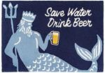 Liora Manne Frontporch 4415/33 Save Water Drink Beer Navy Area Rug
