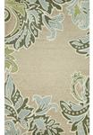 Liora Manne Ravella 1947/04 Ornamental Leaf Border Aqua Area Rug