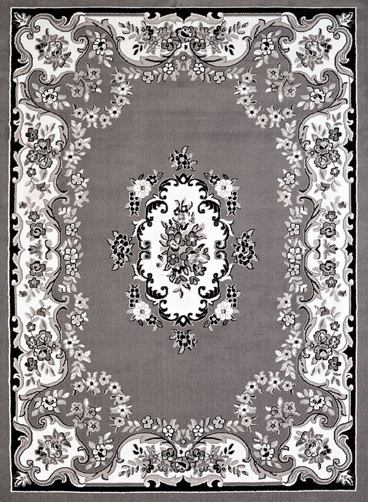United Weavers Cafe 950 10872 Classic Aubusson Grey Area Rug