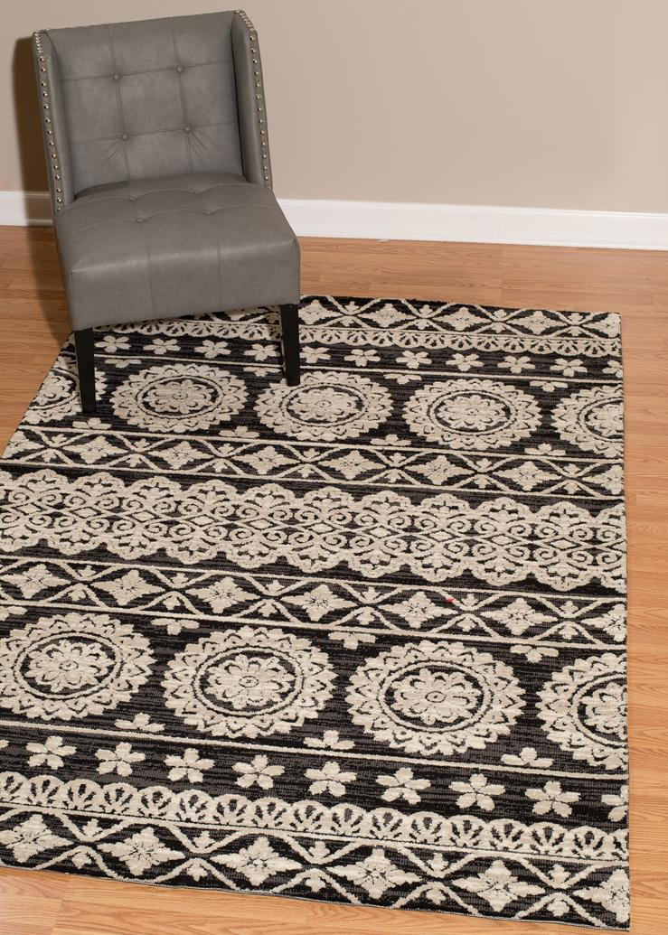 This complex traditional floor covering is the perfect rug for your vintage  style. This timeless rug is a classic piece with onyx black and an  intricate ...
