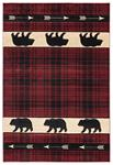 United Weavers Cottage 2055 41434 Tartan Bear Burgundy Area Rug