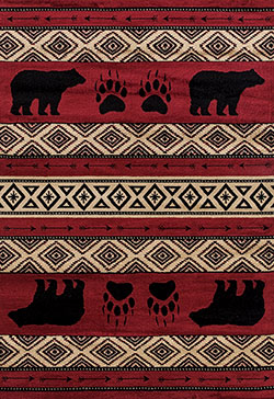 United Weavers Woodside 712 30830 Bear Imprint Red Area Rug