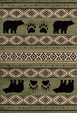 United Weavers Woodside 712 30845 Bear Imprint Green Area Rug