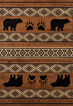 United Weavers Woodside 712 30850 Bear Imprint Brown Area Rug