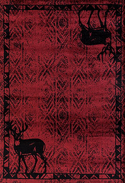United Weavers Woodside 712 30930 Deer Gaze Red Area Rug