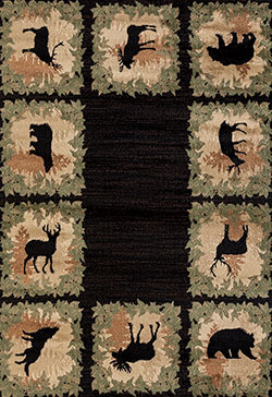 United Weavers Woodside 712 31570 Woodsman Border Black Area Rug