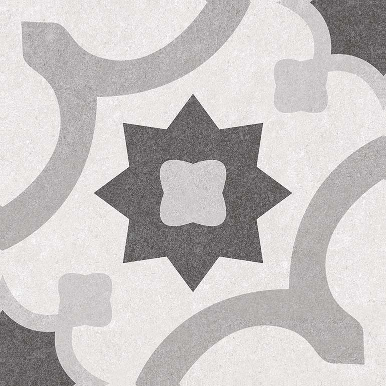 "Black & White 03 10"" X 10"" Porcelain Deco Tile"