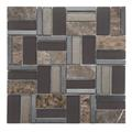 Time Brown Stone-Metal-Glass Mosaic Tile