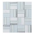 Time White Stone-Metal-Glass Mosaic Tile
