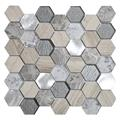 Tour Grey Stone-Metal-Glass Mosaic Tile