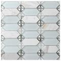 Vintage White Stone-Glass Mosaic Tile
