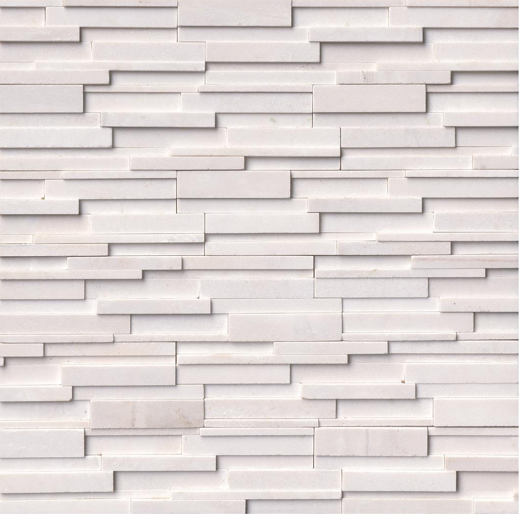 "Rockmount Arctic White 6"" X 24"" 3D Ledger Panel"